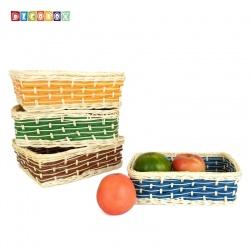 DecoBox自然風彩色藤編長方盤(4個)(麵包盤, 備品籃, 收納雜物籃,毛巾籃)
