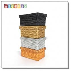 DecoBox鄉村風藤編面紙盒(紙巾盒, 收納盒, 紙巾套, 面紙套)
