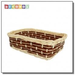 DecoBox自然風咖啡藤編長方盤(2個)(麵包盤, 備品籃, 收納雜物籃,毛巾籃)