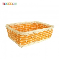 DecoBox自然風黃橙色藤編長方盤(2個)(麵包盤, 備品籃, 收納雜物籃,毛巾籃)