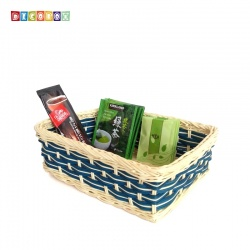 DecoBox自然風藍色藤編長方盤(2個)(麵包盤, 備品籃, 收納雜物籃,毛巾籃)