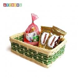 DecoBox自然風翠綠色藤編長方盤(2個)(麵包盤, 備品籃, 收納雜物籃,毛巾籃)