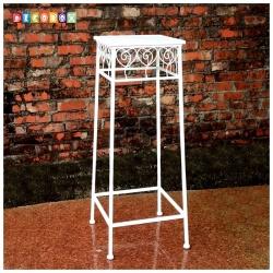 DecoBox心語白色方形中花架 (羅馬柱,走道花鐵架,展示架)