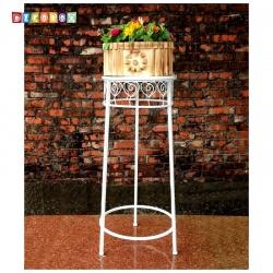DecoBox心語白色圓形大花架 (多肉花架,羅馬柱,走道花鐵架,展示架)