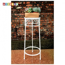 DecoBox心語白色圓形中花架 (多肉花架,羅馬柱,走道花鐵架,展示架)