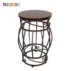 DecoBox北歐工業風胡桃色圓凳(花台)