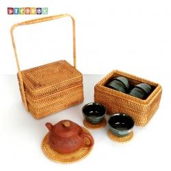DecoBox藤編長方雙層小提籃(宴王,不含杯墊與拍攝用的茶壺茶杯)