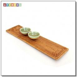 DecoBox藤編長方形杯墊(41*11公分-2個)(宴王,茶道,茶具,插花墊)