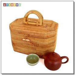 DecoBox藤編茶具收納手提箱(宴王,茶道,茶具,化妝箱,藤編包)