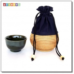 DecoBox藤編壺形個人中杯套(1個)(直徑10H5)(宴王,茶道,茶具,藤編包,茶罐)