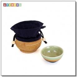 DecoBox藤編壺形個人小杯套(1個)(直徑9H5.5)(宴王,茶道,茶具,藤編包,茶罐)