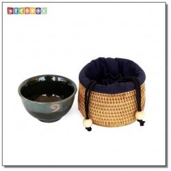 DecoBox藤編筒形個人中杯套(1個)(直徑10H6.5)(宴王,茶道,茶具,藤編包,茶罐)