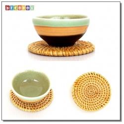 DecoBox藤編圓形杯墊(8公分-5個)(宴王,茶道,茶具,插花墊)