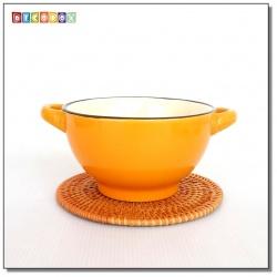 DecoBox藤編圓形杯墊(16公分-5個)(宴王,茶道,茶具,插花墊)
