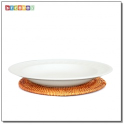 DecoBox藤編圓形杯墊(22公分-5個)(宴王,茶道,茶具,插花墊)