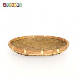 DecoBox日曬用薄竹盤(25公分-5個)(竹編織盤.乾阿.湯圓篩.洗菜籃.黑蒜頭.竹篩)