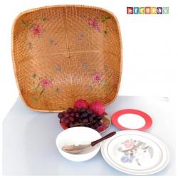 MS方形竹編繡花桌罩(65*65公分)(宴王.燈罩.露營食物罩,野餐)
