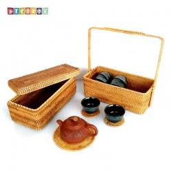 DecoBox藤編長方雙層大提籃(宴王,不含杯墊與拍攝用的茶壺茶杯)