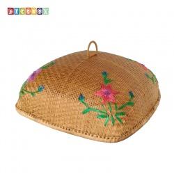 MS方形竹編繡花桌罩(55*55公分)(宴王.燈罩.露營食物罩,野餐)