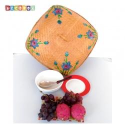 MS方形竹編繡花桌罩(45*45公分)(宴王.燈罩.露營食物罩,野餐)