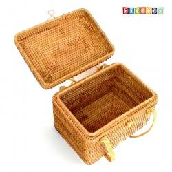 DecoBox藤編長方茶道收納箱(無布套)(宴王,茶道,茶具,藤編包,普洱茶餅罐,收納盒)
