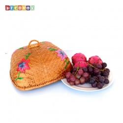 MS方形竹編繡花桌罩(33*33公分)(宴王.燈罩.露營食物罩,野餐)