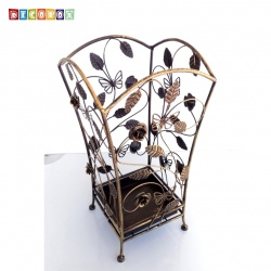 DecoBox玫瑰蝶舞青銅方形萬用傘桶(巴洛克,傘架,紙簍,收納桶,花盆套,颱風,下雨)
