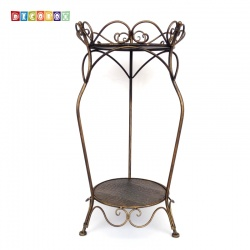 DecoBox巴洛克青銅圓形雙層花架(多肉防鳥花架,鳥籠,園藝,花台,花插,鍛鐵展示架)