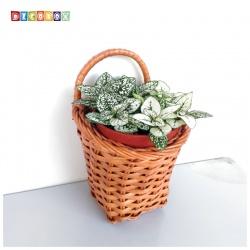 DecoBox咖啡藤編壁掛小花藍-2個(花藍,花盆, 壁掛, 玄關,鑰匙圈收納)