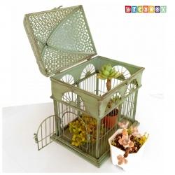 DecoBox英倫風長方銅綠大鳥籠花架(多肉防鳥花架)