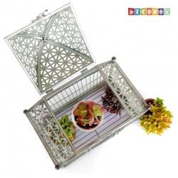 DecoBox古玫溫室銅綠色大鳥籠花架(多肉防鳥花架)