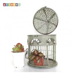 DecoBox英倫風圓形銅綠小鳥籠花架(多肉防鳥花架)
