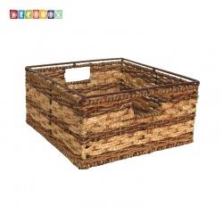 DecoBox地中海風格編織盒(1個)(毛巾籃,寵物籃)