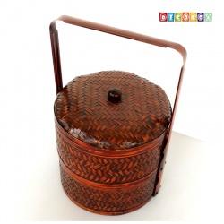 DecoBox禮贈品雙層圓形謝籃(23公分-1組)(多層竹籃,宴王.清明.祭祖.年菜藍)