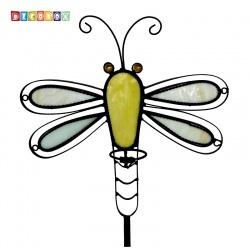 DecoBox蜻蜓彩繪玻璃花插(園藝.花架.花台.盆景架.花插.攀爬架.鍛鐵花器)