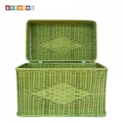 DecoBox粉綠藤編大收納箱(雜物箱, 玩具箱, 衣物收納)