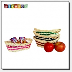 DecoBox鄉村風藤編橢圓彩色麵包盤(4個)(收納籃)