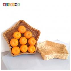 DecoBox鄉村風藤編星形大麵包盤(2個)(置物籃)