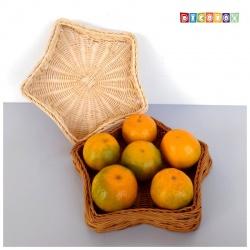 DecoBox鄉村風藤編星形小麵包盤(2個)(雜物籃)