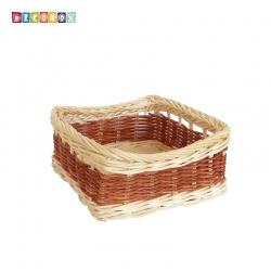 DecoBox鄉村風藤編正方彩色麵包盤(4個)(麵包籃)
