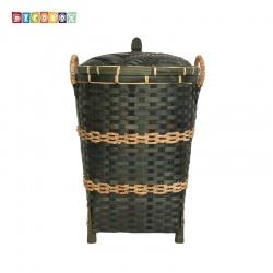 DecoBox日式鄉村風竹編有蓋中收納桶-墨綠色