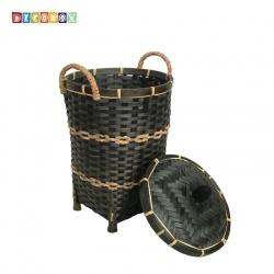 DecoBox日式鄉村風竹編有蓋小收納桶-墨綠色