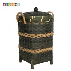 DecoBox日式鄉村風竹編有蓋大收納桶-墨綠色