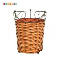 DecoBox皇家藤舞圓形收納桶(2個)(垃圾桶.紙簍.花盆套.鍛鐵藤編)