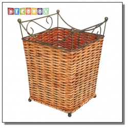 DecoBox皇家藤舞方形收納桶(2個)(垃圾桶.紙簍.花盆套.鍛鐵藤編)