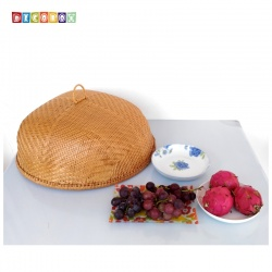 MS圓形竹編煙薰桌罩(直徑50公分)(宴王.燈罩.露營食物罩,野餐)