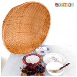 MS圓形竹編煙薰桌罩(直徑70公分)(宴王.燈罩.露營食物罩,野餐)