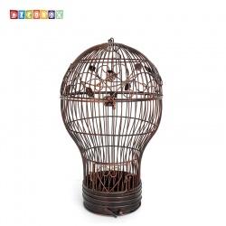 DecoBox燈泡古銅中花架(鳥籠,燈泡多肉防鳥花架,園藝,花台,花插,鍛鐵展示架)