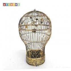 DecoBox燈泡青銅中花架(鳥籠,燈泡多肉防鳥花架,園藝,花台,花插,鍛鐵展示架)