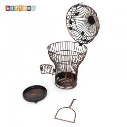 DecoBox燈泡古銅小花架(鳥籠,燈泡多肉防鳥花架,園藝,花台,花插,鍛鐵展示架)